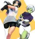 2girls armor bare_legs belt bike_shorts black_belt black_gloves black_hair black_sports_bra blue_eyes bodysuit boots breasts cheelai clenched_teeth closed_mouth collarbone colored_skin dragon_ball dragon_ball_super dragon_ball_super_broly dragon_ball_z dutch_angle facing_viewer fanny_pack feet_out_of_frame feet_up fingerless_gloves floating_hair gloves green_skin grin hair looking_at_another looking_to_the_side medium_breasts multiple_girls ommmyoh orange_background outstretched_hand partially_colored pink_eyes purple_bodysuit see-through shiny shiny_hair shirt short short_sleeves simple_background skindentation smile sports_bra square teeth thick_thighs thigh_gap thighs tight time_paradox twintails very_short_hair videl white_background white_footwear white_gloves white_hair white_shirt