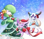1girl :3 blue_background blush bow bowtie capelet christmas closed_eyes clothed_pokemon colored_sclera colored_skin commentary_request crescent_moon crystal dress espeon fake_antlers floating froslass full_body fur-trimmed_capelet fur-trimmed_dress fur-trimmed_headwear fur_trim gardevoir gen_2_pokemon gen_3_pokemon gen_4_pokemon gradient gradient_background green_bow green_capelet green_dress green_hair green_neckwear green_skin hair_ornament hair_over_one_eye hands_together hands_up happy hat heart holding jumping light_blush looking_at_another looking_up moon muguet multicolored multicolored_skin open_mouth pokemon pokemon_(creature) purple_sclera red_bow red_capelet red_headwear red_neckwear red_ribbon ribbon sack santa_hat short_hair smile snowflakes standing star_(symbol) two-tone_skin white_eyes white_skin