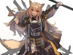 1girl :d animal_ears arknights arm_up armor axe blush breasts brown_coat brown_dress brown_hair brown_legwear ceobe_(arknights) coat commentary cowboy_shot dog_ears dog_tail dress eyebrows_visible_through_hair floating_hair hair_between_eyes highres holding holding_weapon infection_monitor_(arknights) long_hair looking_at_viewer medium_breasts open_mouth oripathy_lesion_(arknights) red_eyes shoulder_armor simple_background smile solo strap tail thigh-highs weapon weapon_on_back white_background yurooe zettai_ryouiki