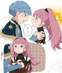 2girls ?? bangs blue_hair blush braid commentary_request confession crown_braid earrings eye_contact eyebrows_visible_through_hair fire_emblem fire_emblem:_three_houses hands_on_another's_shoulders highres hilda_valentine_goneril holding_hands jewelry long_hair looking_at_another marianne_von_edmund multiple_girls open_mouth partially_translated pink_eyes pink_hair ponytail profile thumbs_up translation_request yano_(spirit1022) yuri
