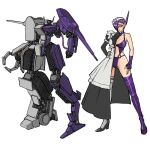 1girl blush boots breasts claws clenched_hand decepticon fingerless_gloves genderswap genderswap_(mtf) gloves hair_over_one_eye large_breasts lingerie maid maid_headdress mecha one-eyed personification procreate_(medium) purple_gloves shockwave_(transformers) single_boot single_glove single_thigh_boot single_thighhigh theamazingspino thigh-highs transformers underwear yellow_eyes