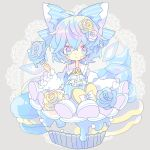 1girl :t blue_bow blue_eyes blue_hair blush bow cirno commentary_request cravat cupcake detached_wings diamond-shaped_pupils diamond_(shape) doily flower food food_on_face fork grey_background hair_bow hair_flower hair_ornament heart highres holding holding_fork ice_cream icing in_food long_sleeves looking_at_viewer macaron nikorashi-ka rose short_hair solo sweets symbol-shaped_pupils touhou upper_body white_bow white_neckwear wide_sleeves wings