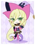 1girl bare_shoulders blonde_hair blush blush_stickers book brown_hair chibi detached_sleeves eyebrows_visible_through_hair flat_chest full_body garter_straps green_hair hand_on_hip hand_up happy hat jester_cap leg_up long_hair looking_to_the_side magilou_(tales) midriff mismatched_footwear mismatched_legwear muguet multicolored multicolored_clothes multicolored_headwear multicolored_shirt pink_footwear pink_legwear pointy_ears purple_footwear smile solo standing standing_on_one_leg strapless_shirt tales_of_(series) tales_of_berseria teeth thigh-highs very_long_hair