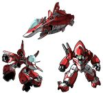 aircraft airplane asplenia_studios chibi clenched_hand english_commentary fighter_jet gerwalk highres jet macross macross_m3 mecha military military_vehicle no_humans open_hand science_fiction variable_fighter vf-9 visor white_background