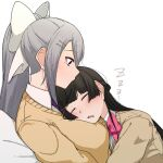 2girls absurdres black_hair blazer bow cardigan_vest closed_eyes drooling hair_ornament hairclip highres higuchi_kaede jacket long_hair mole mole_under_eye multiple_girls nijisanji open_mouth pink_bow pink_neckwear ponytail purple_neckwear ryon_1925 school_uniform silver_hair sleeping sleeping_on_person tsukino_mito very_long_hair virtual_youtuber