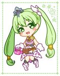 1girl :3 bangs belt black_legwear blush blush_stickers boots border commentary_request dress eyebrows_visible_through_hair frey_(rune_factory) full_body gloves green_border green_eyes green_hair hair_ribbon hand_up happy head_tilt heart heart_in_eye holding kneehighs knees_together_feet_apart long_hair looking_at_viewer muguet open_mouth pouch ribbon rune_factory rune_factory_4 sidelocks sleeveless sleeveless_dress smile solo standing symbol_in_eye tiara tied_hair twintails very_long_hair watering_can white_dress white_footwear white_gloves white_ribbon