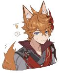 1boy ? ahoge animal_ear_fluff animal_ears bangs blue_eyes cropped_torso fox_boy fox_ears fox_tail genshin_impact hair_between_eyes highres jacket male_focus mask mask_on_head miz_003 orange_hair red_scarf scarf simple_background solo spoken_question_mark sweat tail tartaglia_(genshin_impact) upper_body white_background