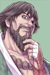 1boy aoki_masahiko bangs beads beard brown_eyes brown_hair chin_stroking collarbone commentary_request facial_hair fingerless_gloves gloves green_background hakama hand_up highres japanese_clothes kusanagi_saishu looking_at_viewer male_focus mustache prayer_beads red_gloves short_hair simple_background smirk solo the_king_of_fighters upper_body