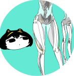 1girl :o animal_ears black_eyes black_hair blue_background cat_ears colored_skin kokubunji_suou kuroi_moyamoya mechanical_ears mole mole_under_mouth original parted_lips robot solo spine standing transparent_skin white_skin wide_face