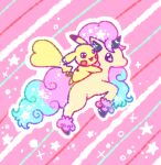 :3 animal_focus black_eyes blue_hair blush_stickers commentary_request from_side galarian_form galarian_ponyta gen_1_pokemon gen_8_pokemon happy jumping long_hair muguet multicolored_hair no_humans open_mouth outline pikachu pink_background pink_hair pokemon pokemon_(creature) riding smile sparkle star_(symbol) star_in_eye striped striped_background symbol_in_eye two-tone_hair unicorn white_outline