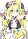 1girl absurdres ahoge animal_ears arm_garter blonde_hair blue_eyes blush bow breasts closed_mouth commentary cowboy_shot dress english_commentary eyebrows_visible_through_hair finger_horns fuusuke_(fusuke208) gloves hair_between_eyes hair_ornament hairclip highres hololive horns idol long_hair looking_at_viewer medium_breasts official_alternate_costume pink_bow sheep_ears sheep_hair_ornament sheep_horns simple_background smile solo striped striped_bow traditional_media tsunomaki_watame twitter_username virtual_youtuber white_background white_bow white_dress white_gloves wrist_cuffs