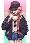1boy astolfo_(fate) baggy_clothes belt black_nails bow braid braided_ponytail candy choker collar collarbone contemporary english_text fate/apocrypha fate_(series) fishnets food hair_bow hand_in_pocket hat heart heart-shaped_eyewear highres jacket kiritani846 lollipop long_hair looking_at_viewer male_focus nail_polish one_eye_covered otoko_no_ko pink_hair shorts single_braid smile solo sunglasses tank_top tongue tongue_out violet_eyes