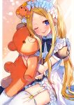 1girl abigail_williams_(fate) akirannu animal_ears apron backlighting bangs blonde_hair blue_dress blue_eyes blush bow breasts cat_ears check_commentary commentary commentary_request cook_heart_(fate) dress fate/grand_order fate_(series) forehead hair_bow highres light_particles light_rays long_hair looking_at_viewer multiple_bows multiple_hair_bows one_eye_closed parted_bangs puffy_short_sleeves puffy_sleeves short_sleeves sidelocks small_breasts smile stuffed_animal stuffed_toy teddy_bear thigh-highs thighs tongue tongue_out twintails white_legwear