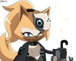 1girl animal_ears blue_eyes coat coat_on_shoulders fang fang_out furry gloves hair_over_one_eye hand_on_hip highres hobi_(4622j) holding holding_weapon idw_publishing looking_at_viewer mask mask_on_head mask_removed one_eye_closed ponytail sleeveless solo sonic_the_hedgehog sparkle tail twitter_username upper_body weapon whisper_the_wolf white_background wolf_ears wolf_girl wolf_tail yellow_fur