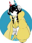 1girl animal_ears black_eyes black_hair blue_hair cat_ears coat colored_skin elesa_(pokemon) elesa_(pokemon)_(cosplay) headphones kokubunji_suou kuroi_moyamoya long_sleeves looking_at_viewer mechanical_ears mole mole_under_mouth original pokemon pokemon_(game) pokemon_bw2 solo white_skin yellow_coat