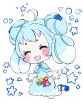 1girl ^_^ ahoge alcremie alcremie_(berry_sweet) alcremie_(mint_cream) bangs blue_bow blue_capelet blue_dress blue_footwear blue_hair blue_theme blush blush_stickers bow capelet circle closed_eyes clover commentary_request diamond_(shape) double_bun dress flower food four-leaf_clover fruit full_body gen_8_pokemon hair_bobbles hair_ornament hands_up happy heart muguet multicolored_hair open_mouth orange_flower personification pokemon shoes sidelocks sitting smile solo sparkle star_(symbol) strawberry streaked_hair tied_hair triangle wariza white_background white_hair