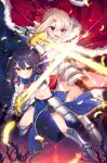 2girls :o absurdres armor armored_dress bangs bike_shorts black_hair black_shorts blonde_hair braid cape excalibur_(fate/stay_night) fate/kaleid_liner_prisma_illya fate_(series) french_braid full_body fur-trimmed_cape fur_trim gauntlets highres holding holding_sword holding_weapon illyasviel_von_einzbern metal_boots midriff miyu_edelfelt multiple_girls navel open_mouth parted_bangs pelvic_curtain red_cape red_eyes serious short_hair shorts sword taro_(ultrataro) weapon yellow_eyes