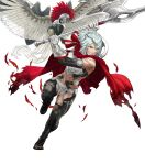 1girl animal armor axe battle_axe bird breastplate cape dagr_(fire_emblem) fire_emblem fire_emblem_heroes full_body gloves grey_eyes headpiece highres holding kozaki_yuusuke light_blue_hair lips midriff muscular muscular_female open_toe_shoes red_cape short_hair solo toes transparent_background weapon wings