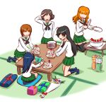 5girls ahoge akiyama_yukari bangs birthday birthday_cake black_hair black_legwear black_neckwear blouse blunt_bangs bottle bouquet brown_hair cake cake_slice commentary cushion flower food gift girls_und_panzer giving green_skirt hairband happy holding holding_knife holding_picture holding_plate indoors isuzu_hana kneeling knife kogane_(staygold) long_hair long_sleeves looking_at_another lowres messy_hair miniskirt multiple_girls neckerchief nishizumi_miho no_eyes no_shoes ooarai_school_uniform open_mouth orange_hair picture_frame plate pleated_skirt reizei_mako sailor_collar salute school_uniform seiza serafuku shadow short_hair sitting skirt smile socks table takebe_saori tatami thigh-highs white_blouse white_hairband white_sailor_collar zabuton