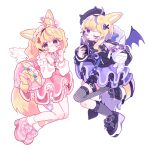 2girls @_@ aeruusa ahoge angel angel_and_devil animal_ears bag bare_shoulders blonde_hair blush broken_heart clothing_cutout demon_wings dual_persona floating fox_ears fox_girl frills full_body fur_trim gothic_lolita hair_ornament hairclip heart highres hololive lolita_fashion looking_at_viewer miniskirt multicolored_hair multiple_girls omaru_polka pink_hair shoulder_cutout simple_background skirt spoken_heart sweet_lolita violet_eyes virtual_youtuber white_background wings x_hair_ornament