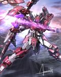 amasaki_yusuke artist_name bow_(weapon) energy_weapon floating glowing glowing_eyes highres holding holding_bow_(weapon) holding_weapon looking_up mecha no_humans original science_fiction solo violet_eyes weapon