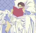 1boy 9bmmnn barefoot bed_sheet book brown_eyes brown_hair covered_mouth highres long_sleeves open_book original pajamas pillow reading short_hair solo
