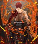 1boy bare_back blurry depth_of_field emiya_shirou facing_away fate/grand_order fate_(series) fire from_behind holding holding_weapon igote kdm_(ke_dama) limited/zero_over male_focus pants redhead sengo_muramasa_(fate) shirtless solo standing sword toned toned_male weapon wristband