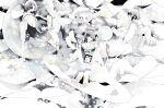 4girls angel angel_wings bangs bubble feathered_wings grey_hair halo highres long_sleeves multiple_girls original sailor_collar shirt short_hair sion_0d1m white_sailor_collar white_shirt white_wings wide_shot wings
