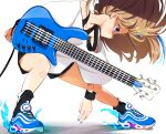 1girl brown_hair cable fire guitar long_hair looking_at_another nike original playing_instrument shorts sneakers standing sweatband violet_eyes white_background