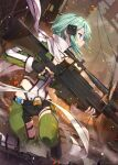 1girl anti-materiel_rifle aqua_eyes bangs black_gloves black_shorts blue_eyes blue_hair commentary_request destruction dutch_angle fingerless_gloves foot_up from_side frown gabiran gloves gun hair_ornament hairclip holding holding_gun holding_weapon long_sleeves profile rifle scarf shiny shiny_hair short_hair short_shorts shorts sinon sniper_rifle solo sword_art_online weapon white_scarf