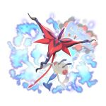 absurdres blurry closed_mouth creature e_volution floette floette_(eternal) flower gen_6_pokemon highres holding holding_flower looking_up no_humans pokemon pokemon_(creature) smile solo