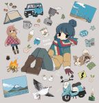 156m 3girls animal bacon bangs bird black_eyes black_legwear blanket blue_hair blush book boots brown_hair campfire car chikuwa_(yurucamp) closed_mouth cup dog fire flower food gloves grey_background ground_vehicle hair_bun highres ice_cream ice_cream_cone jacket kagamihara_nadeshiko long_hair long_sleeves motor_vehicle mount_fuji mountain mug multicolored multicolored_clothes multicolored_scarf multiple_girls mushroom noodles onion open_mouth pants pantyhose pinecone pink_hair ramen ramen saitou_ena scarf shima_rin short_hair shorts sidelocks sign simple_background spring_onion star_(symbol) tent tree vegetable yellow_scarf yurucamp