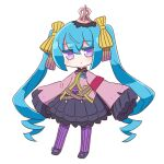 1girl 7th_dragon_(series) bangs black_footwear black_skirt blue_hair blush bow character_request chibi closed_mouth colored_eyelashes commentary_request crown eyebrows_visible_through_hair full_body hair_between_eyes hair_bow highres jacket long_hair long_sleeves looking_at_viewer mini_crown naga_u pantyhose pleated_skirt purple_jacket purple_legwear shoes simple_background skirt sleeves_past_fingers sleeves_past_wrists solo standing striped striped_bow striped_legwear twintails vertical-striped_legwear vertical_stripes very_long_hair violet_eyes white_background wide_sleeves yellow_bow