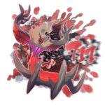 absurdres blurry commentary e_volution gen_6_pokemon green_eyes grey_fur highres legendary_pokemon no_humans open_mouth outline pokemon pokemon_(creature) solo talons tongue yveltal