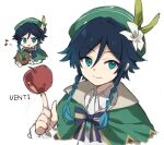 1boy apple bangs black_hair blue_eyes blue_hair bow bowtie braid cape character_name eyebrows_visible_through_hair flower food freenote_mr fruit genshin_impact gradient_hair green_headwear hat highres index_finger_raised instrument lyre male_focus multicolored_hair musical_note open_mouth side_braids simple_background smile venti_(genshin_impact) white_background white_flower