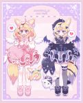 2girls @_@ aeruusa ahoge angel angel_and_devil animal_ears bag bare_shoulders blonde_hair blush broken_heart clothing_cutout demon_wings dual_persona fox_ears fox_girl frills full_body fur_trim gothic_lolita hair_ornament hairclip heart highres hololive lolita_fashion looking_at_viewer miniskirt multicolored_hair multiple_girls omaru_polka pink_hair shoulder_cutout skirt spoken_heart sweet_lolita violet_eyes virtual_youtuber wings x_hair_ornament