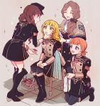 4girls :d ^_^ annette_fantine_dominic bag bangs black_bow black_footwear black_headwear black_jacket black_legwear black_skirt blonde_hair blue_eyes boots bow bracelet brown_capelet brown_hair cabbie_hat capelet closed_eyes comb combing commentary_request dorothea_arnault fire_emblem fire_emblem:_three_houses garreg_mach_monastery_uniform green_eyes grey_background hair_bow handbag hat highres holding holding_comb ingrid_brandl_galatea jacket jewelry knee_boots kneeling long_hair long_sleeves looking_at_another mercedes_von_martritz miniskirt multiple_girls noshima open_mouth orange_hair pantyhose short_hair simple_background sitting skirt skirt_set smile sparkle standing