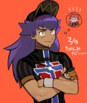 1boy baseball_cap blush champion_uniform closed_mouth commentary_request crossed_arms dark_skin dark_skinned_male datosa eyelashes facial_hair gloves hat lance_(pokemon) leon_(pokemon) long_hair male_focus orange_background partially_fingerless_gloves pokemon pokemon_(game) pokemon_hgss pokemon_swsh purple_hair shirt short_sleeves single_glove smile thought_bubble upper_body wristband yellow_eyes