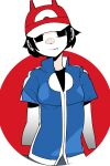 1girl animal_hat ash_ketchum ash_ketchum_(cosplay) baseball_cap black_eyes black_hair black_shirt blue_jacket colored_skin hat head_tilt jacket kokubunji_suou kuroi_moyamoya looking_at_viewer mole mole_under_mouth original pokemon pokemon_(anime) pokemon_xy_(anime) red_headwear shirt short_hair short_sleeves smile solo standing upper_body white_skin