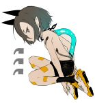 1girl absurdres black_shorts breasts closed_mouth copyright_request ddari from_side grey_eyes grey_hair highres looking_at_viewer looking_to_the_side pointy_ears shoes shorts simple_background small_breasts snake_tattoo solo topless white_background