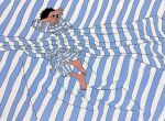 1boy 9bmmnn barefoot bed_sheet black_hair blue_stripes covering_face flat_color full_body highres ligne_claire limited_palette long_sleeves lying male_focus on_side original pajamas short_hair solo striped white_stripes