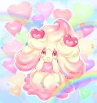 absurdres alcremie artist_name balloon commentary_request full_body gen_8_pokemon hands_up happy heart heart_in_eye highres kazusa_hiyori no_humans open_mouth outline pokemon pokemon_(creature) smile solo symbol_in_eye watermark