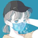 1girl absurdres arm_up bangs baseball_cap black_headwear blue_background blue_eyes blue_mask brown_hair hat highres looking_at_viewer mask mouth_mask nocopyrightgirl original ponytail portrait shirt short_hair simple_background snowflakes solo yellow_shirt