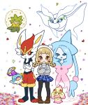 3girls @_@ absurdly_long_hair alcremie alcremie_(ruby_swirl) alcremie_(strawberry_sweet) animal_ears arm_up bangs bike_shorts black_legwear black_sclera blank_eyes blonde_hair blue_eyes blue_fur blue_hair blue_headwear blue_skirt blunt_bangs blush blush_stickers body_fur braid brown_eyes brown_footwear bunny_tail cinderace closed_mouth collared_shirt colored_sclera colored_skin commentary_request confetti cross-laced_footwear crossed_arms eldegoss flat_chest floating food frosmoth fruit full_body furry gen_8_pokemon gloria_(pokemon) grey_skin grey_sweater happy hat hatterene heart highres holding long_hair long_sleeves looking_at_another looking_at_viewer looking_up miniskirt muguet multicolored_hair multiple_girls open_mouth pantyhose paws pink_hair plaid plaid_skirt pleated_skirt pokemon pokemon_(creature) pokemon_(game) pokemon_swsh polteageist prehensile_hair rabbit_ears rabbit_girl red_eyes red_fur redhead shirt shoes short_hair simple_background skirt smile standing straight-on strawberry sweater tail teapot tied_hair twin_braids two-tone_hair very_long_hair white_background white_eyes white_fur white_shirt witch_hat yellow_eyes yellow_fur
