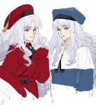2girls bangs big_hair black_bow blue_coat blue_headwear bow bright_pupils brooch capelet caren_hortensia closed_mouth coat cravat dual_persona earrings fate/grand_order fate_(series) grey_hair hand_up hat highres jewelry long_hair multiple_girls parted_bangs red_coat red_headwear sankomichi simple_background smile tassel white_background white_capelet white_pupils yellow_eyes