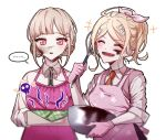 ... 2girls ^_^ akamatsu_kaede alternate_costume alternate_hairstyle apron bangs black_shirt blush bowl box braid brown_eyes closed_eyes collared_shirt danganronpa_(series) danganronpa_2:_goodbye_despair danganronpa_v3:_killing_harmony eyebrows_visible_through_hair gloves hair_ribbon halo holding holding_bowl holding_box light_brown_hair long_sleeves looking_at_viewer lysm425 multiple_girls nanami_chiaki neck_ribbon necktie open_mouth orange_neckwear pink_apron pink_ribbon pink_sweater_vest pink_vest ribbon shirt simple_background smile spoken_ellipsis symbol_commentary two-tone_shirt upper_body vest white_background white_shirt