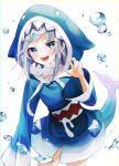 1girl absurdres animal_costume animal_hood bangs blue_eyes blue_hair blue_hoodie blush bubble chromatic_aberration claw_pose cowboy_shot fish_tail gao gawr_gura grey_nails hand_up highres hololive hololive_english hood hood_up hoodie lisi long_hair long_sleeves looking_at_viewer multicolored_hair nail_polish open_mouth shark_costume shark_girl shark_hood shark_tail sidelocks silver_hair simple_background sleeves_past_wrists solo streaked_hair tail teeth v-shaped_eyebrows virtual_youtuber white_background