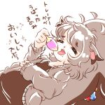 1girl :3 =_= animal_ears bangs berry_(pokemon) black_eyes brown_shirt cardigan collarbone commentary_request eating eyebrows_visible_through_hair food freckles gen_8_pokemon greedent grey_cardigan grey_hair hand_up holding holding_food kelpsy_berry leppa_berry long_sleeves lying medium_hair messy_hair muguet on_back open_cardigan open_clothes open_mouth personification pokemon qualot_berry shirt sketch solo sparkle squirrel_ears squirrel_girl squirrel_tail tail talking tamato_berry teeth translation_request upper_body wavy_mouth