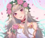 1girl alternate_costume artist_name bangs bare_shoulders blush choker commentary dress english_commentary english_text eyebrows_visible_through_hair fire_emblem fire_emblem_heroes flower grey_hair hair_flower hair_ornament hat holding holding_flower instagram_username jewelry leaf leaf_hair_ornament lips long_hair looking_at_viewer nail official_alternate_costume parted_lips petals pink_flower pink_rose red_choker red_eyes rose saphirya smile solo teeth twitter_username valentine veronica_(fire_emblem) white_dress white_flower white_headwear