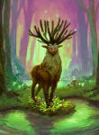 absurdres animal_focus antlers bug butterfly commentary deer english_commentary forest grass highres insect kauedaiprai kodama looking_at_viewer mononoke_hime mushroom nature no_humans pond shishigami_(mononoke_hime) water